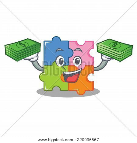With money puzzle mascot cartoon style vector illustration