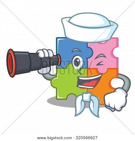 Sailor with binocular puzzle mascot cartoon style vector illustration