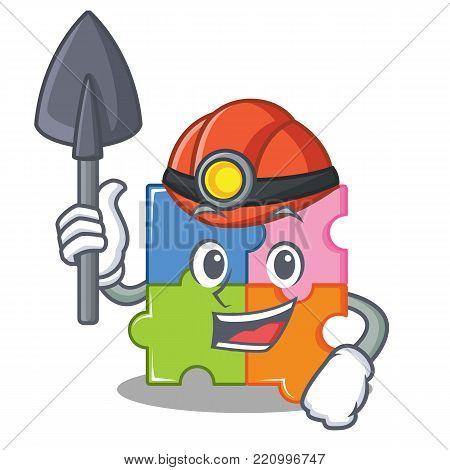 Miner puzzle mascot cartoon style vector illustration