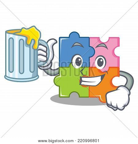 With beer puzzle mascot cartoon style vector illustration