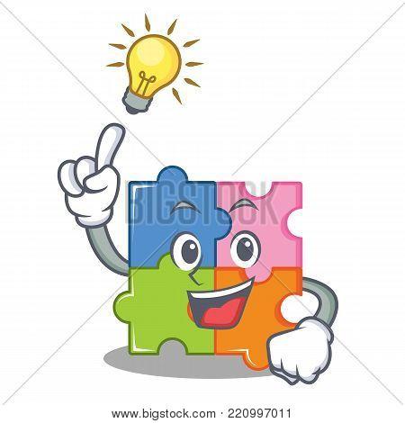 Have an idea puzzle mascot cartoon style vector illustration