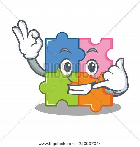 Call me puzzle mascot cartoon style vector illustration