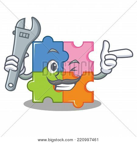 Mechanic puzzle mascot cartoon style vector illustration