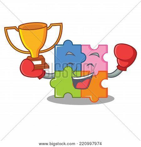 Boxing winner puzzle mascot cartoon style vector illustration