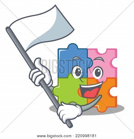 With flag puzzle mascot cartoon style vector illustration