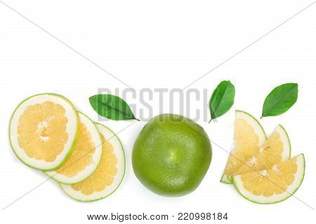 Citrus Sweetie or Pomelit, oroblanco with half and leaf isolated on white background with copy space for your text. Top view. Flat lay.