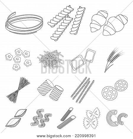 Types of pasta outline icons in set collection for design. Figured macaroni for eating vector symbol stock  illustration.