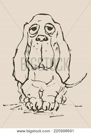 Basset Hound  Sad Dog Vector & Photo (Free Trial) | Bigstock