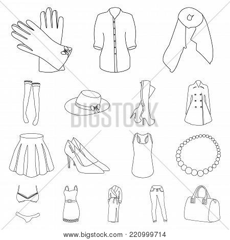 Women's Clothing outline icons in set collection for design.Clothing Varieties and Accessories vector symbol stock  illustration.