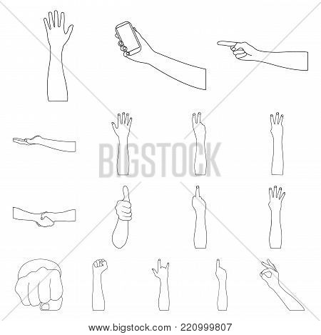 Gestures and their meaning outline icons in set collection for design.Emotional part of communication vector symbol stock  illustration.