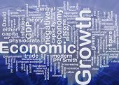 Background concept wordcloud illustration of economic growth international poster