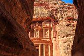Caved buildings of Little Petra in Siq al-Barid Wadi Musa Jordan at daytime poster