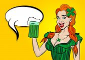 Comic book speech bubble. Happy St Patrick's Day pop art. Sexy red woman wow face hold ale green glass. Holiday vector illustration greeting. Shamrock cartoon clover. Funny colored kitsch cute smile. poster