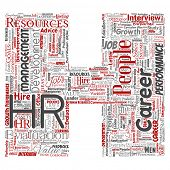 Concept conceptual hr or human resources career management letter font H word cloud isolated background. Collage of workplace, development, hiring success, competence goal, corporate or job poster