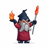 Wizard witch or evil wicked magician cartoon character. Vicious grumpy or angry old man dwarf or bad gnome in hat with magic fire and crystal crook wand. Vector isolated flat icon for computer game poster