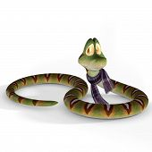 cute little toon snake with clipping path poster
