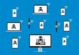 Hacker use KRACK method for steal important data from victim device with wifi hack on WPA2 key security. Vector illustration KRACK in wifi cyber security infographic concept.