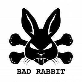Black bad rabbit ransomware logo design on white background. Vector illustration cyber crime and security logo concept.