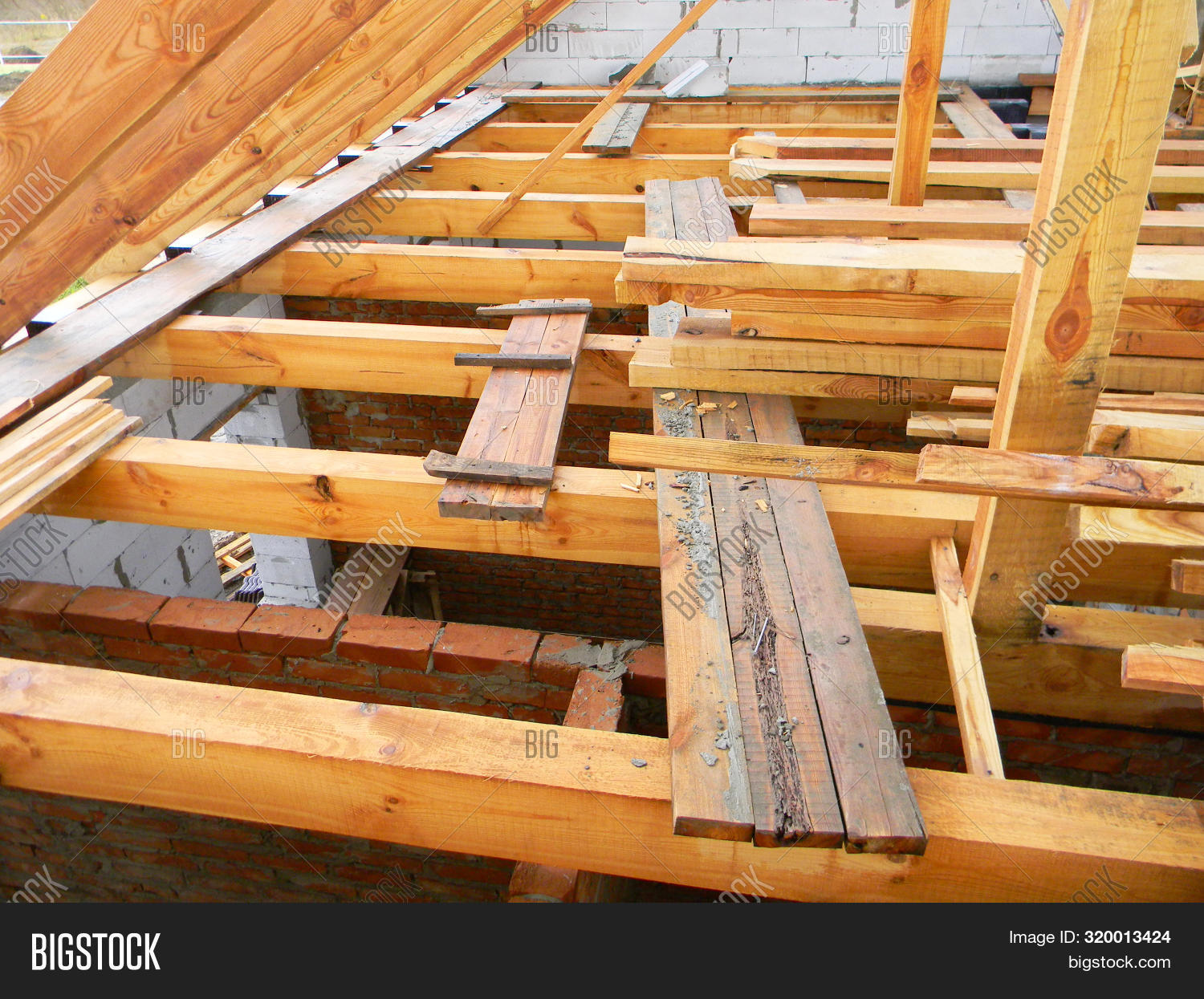 Unfinished Attic House Image Photo Free Trial Bigstock