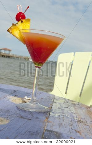 Cocktail on a beach by the Indian River Lagoon in Melbourne Florida poster