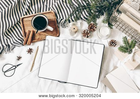 Christmas, Winter Composition. Blank Greeting Card, Open Diary, Sketch Book Mock-up Scene. Cup Of Co