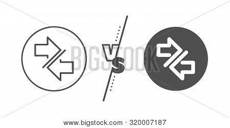 Communication Arrowheads symbol. Versus concept. Synchronize arrows line icon. Navigation pointer sign. Line vs classic synchronize icon. Vector poster
