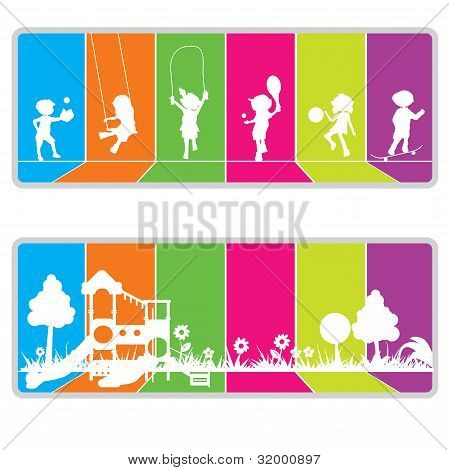 children and fun background silhouettes