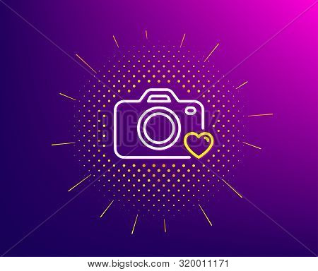 Photo Camera Line Icon. Halftone Pattern. Love Photography Sign. Heart Symbol. Gradient Background.