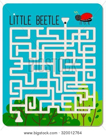 Kid Maze Game. Little Beetle Labyrinth For Kids, Children Mazes Games Sheet For Learning To Find Way