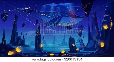 Fantasy Dream, Space Fairy Tale Background With Huge Whale Flying In Night Neon Sky Over Phantasmago