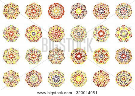 Abstract Floral Heptagon Symbol Set - Geometric Geometrical Vector Designs With Curved Shapes