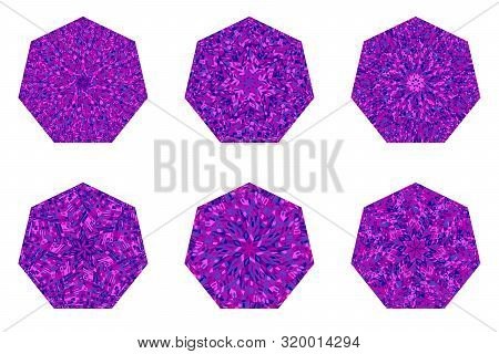 Abstract Mosaic Pattern Heptagon Symbol Template Set - Heptagonal Vector Design Element With Geometr
