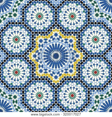 Arabic Tile Pattern. Design Of A Tile Based On Islamic Traditional Art. All Elements Sorted And Grou
