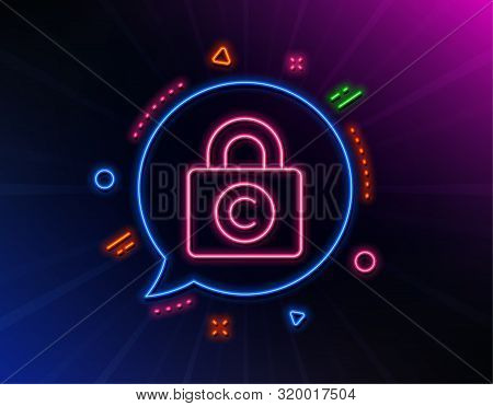 Copyright Locker Line Icon. Neon Laser Lights. Copywriting Sign. Private Information Symbol. Glow La