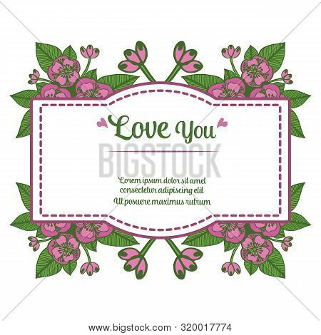 Design Your Greeting Card Love You, With Pattern Art Of Wreath Frame. Vector