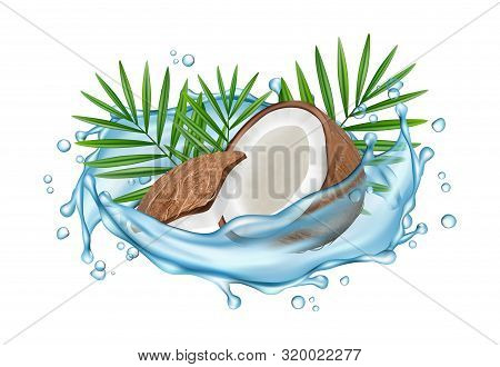 Coconut Water Vector Concept. Realistic Coconut, Water Splashes And Palm Leaves. Illustration Coconu