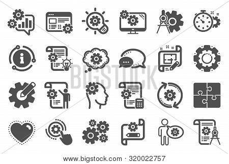 Engineering Icons. Set Of Idea Bulb, Dividers Tools And Blueprint Icons. Cogwheel, Calculate Price,