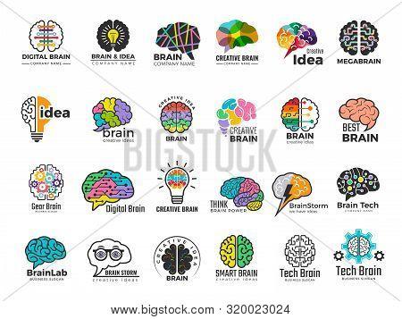 Brain Logo. Genius And Technology Smart Mind Business Concept Identity Vector Colored Symbols. Illus