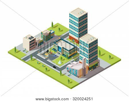 City Mall. Urban Isometric Landscape With Big Modern Building Of Retail Hypermarket Shopping Center