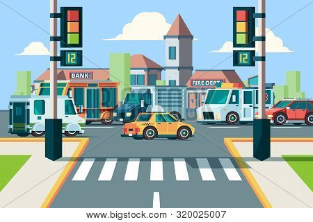 City Road Traffic. Urban Landscape Intersection With City Cars In Street Crosswalk With Lights Vecto