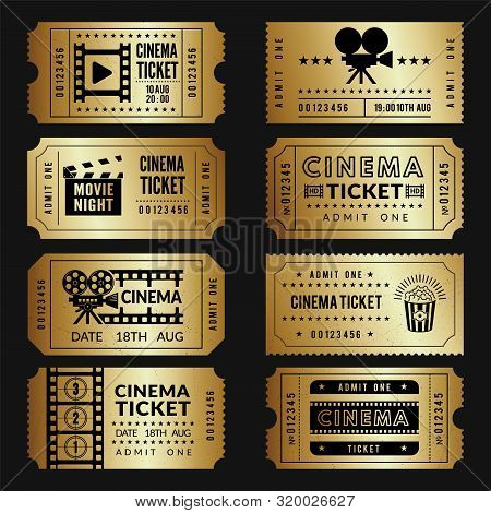 Golden Tickets. Entry Cinema Tickets Templates With Illustrations Of Video Cameras And Other Tools.