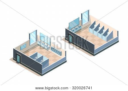 Public Toilet. Isometric Washroom For Male And Female People Modern Sink Vector Illustrations. Toile