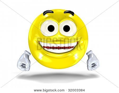 Happy smiley face, emoticon laughing. On white