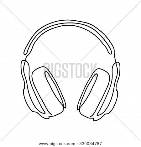 Single Line Drawing Isolated On A White Background. Wireless Headphones For Listening To Music.