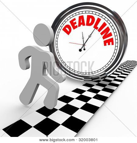 A running person reaches a finish line in a race against a clock with the word Deadline, representing a dash to quickly complete a job or task or other objective before time is up