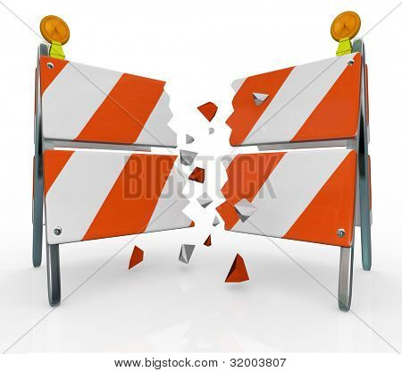 A roadblock barrier or barricade is split as you break through to freedom, overcoming an obstacle standing in your way between you and achieving your goals