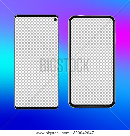 Realistic Phone Screen Template No Notch Front View Smart-phone Mobile Device. Modern Isolated Detai