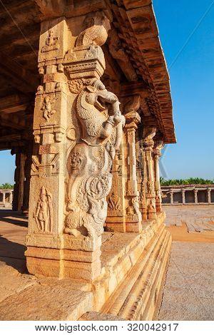 Relief Carving At The Hampi Temple, The Centre Of The Hindu Vijayanagara Empire In Karnataka State I