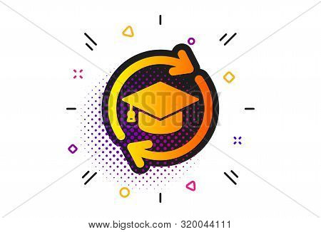 Online Education Sign. Halftone Circles Pattern. Continuing Education Icon. Classic Flat Continuing