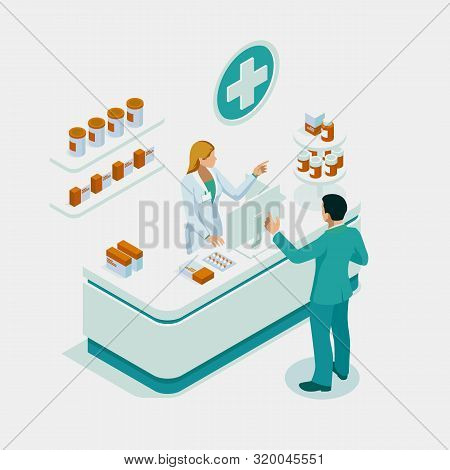 Isometric Pharmacy Store And Doctor Pharmacist And Patient. Woman Pharmacist Holding Prescription Ch